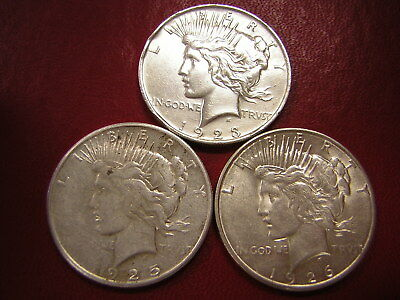 Lot of 3 Peace Silver Dollars  / 1923 1925-s 1926-s  /  U S Coins 129