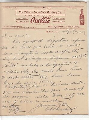 The Vidalia Coca-Cola Bottling Co.letterhead   Dated  5/28  1909 109 Years Old