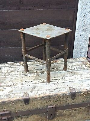 Antique Georgian Victorian Iron Brass Kettle Pot Pan Stand Hearth Kitchen Range