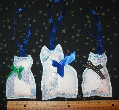 "3 Vtg quilt Cat Kittens ornies 4"" 5"" bowl fillers NEW handmade"