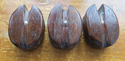 Vintage Collection Of Three 3 Inch Wooden Single Yacht Pulleys/block/tackle