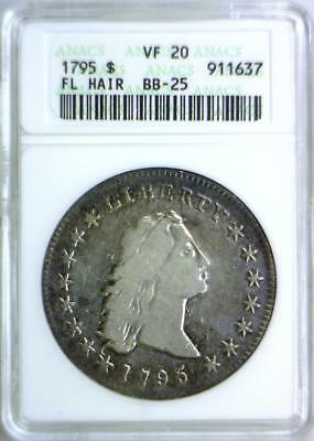 1795 Three Leaves Flowing Hair Dollar ANACS VF-20; BB-25