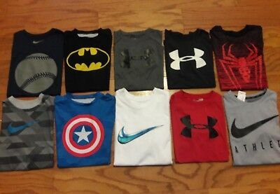 Awesome LOT of 10 EUC Boys UNDER ARMOUR & NIKE Shirts *YLG Youth Large
