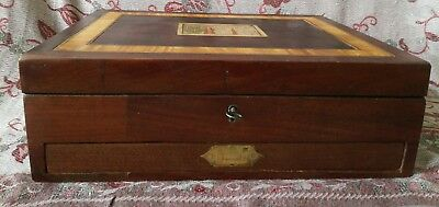 Interesting Old Wooden Vintage compartment Box with Drawer and Key