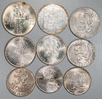 Lot of (9) Silver Coins from Czechoslovakia Various Denominations Item#J1651