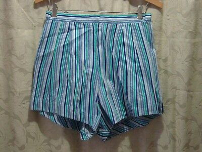 Vintage 1960's-70's Pair of Pleated High Waisted Short Shorts Blue Hot Pants
