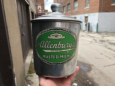 "VINTAGE c.1950 ""ALLENBURY'S MALTED MILK"" CANADIAN SODA FOUNTAIN MALT CONTAINER"