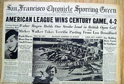 1933 hdlne newspaper w 1st BASEBALL ALL STAR GAME ever Played BABE RUTH Home Run