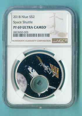 Niue Space Shuttle Ngc 2018 Pf-69 $2 Proof