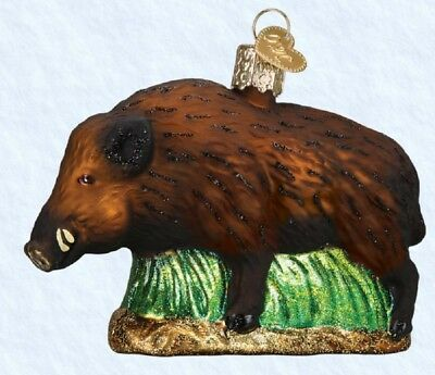 Old World Christmas Wild Boar Blown Glass Ornament 12500 Decoration FREE BOX New