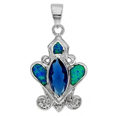 Blue Sapphire & Australian Opal Inlay 925 Solid Sterling Silver Pendant Jewelry