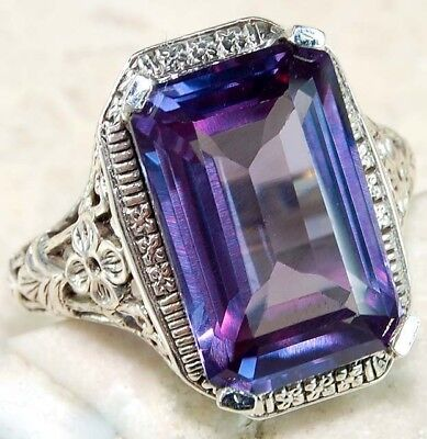10CT Color Changing Alexandrite 925 Sterling Silver Filigree Ring Jewelry Sz 6