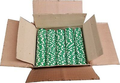 1000 Green Dice Mold Clay Composite Poker Chips 11.5gr  GREAT DEAL *