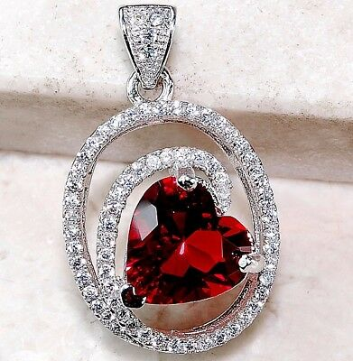 2CT Ruby & White Topaz 925 Solid Sterling Silver Heart Pendant Jewelry