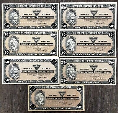 Lot of 7x 1985 Canadian Tire 50 Cents Notes ***Great Condition*** CTC-S6-E