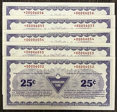 5x 1991 Canadian Tire 25 Cents STAR Notes *Uncirculated Consecutives* CTC-S13-DA