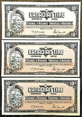 CTC S4-C-CM 1974 Lot of 3 Canadian Tire 10 Cent UNC Notes - Free Combined S/H