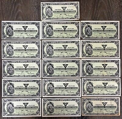 Lot of 16x 1989 Canadian Tire 5 Cents Notes ***Great Condition***