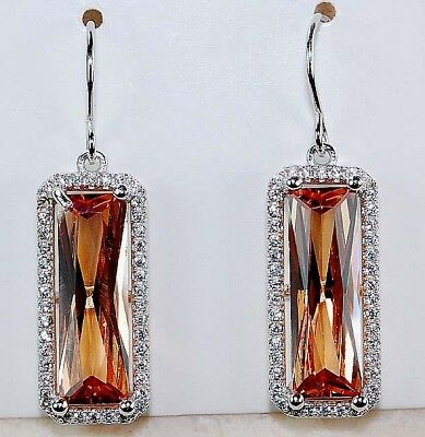 8CT Padparadscha Sapphire & Topaz 925 Solid Sterling Silver Earrings Jewelry