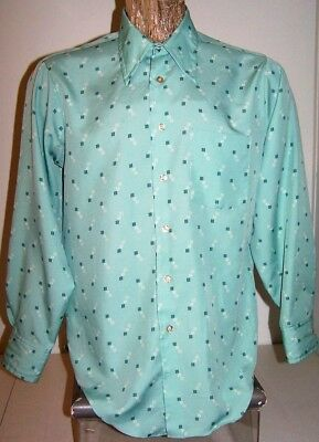 VTG 1970's JC PENNEY DRESS SHIRT Mens Sz M Long Sleeves Big Collar Seafoam Green