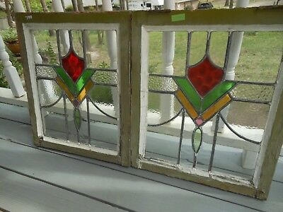 V-334A Lovely Older Leaded Stained Glass Window From England... 2 Available