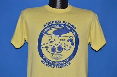 vintage 80s FIGHTING MACHINISTS UNION MADE IN THE USA YELLOW t-shirt MEDIUM M