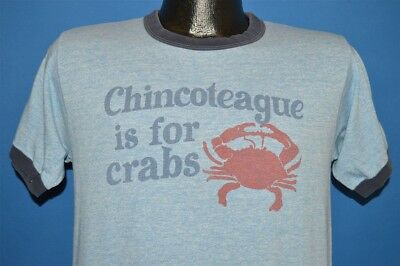 vintage 80s CHINCOTEAGUE IS FOR CRABS VIRGINIA BLUE HEATHERED RINGER t-shirt M