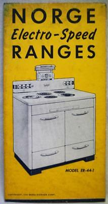 Norge Kitchen Cooking Ranges Advertising Sales Brochure Guide 1940 Wwii Vintage