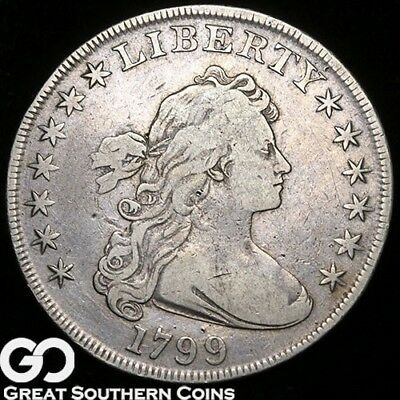 1799 Draped Bust Dollar, Highly Demanded VF++ Early Silver Dollar ** Free S/H!