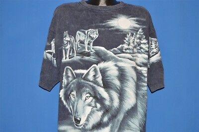 vintage 90s WOLF WOLVES WHITE FULL MOON SNOW ALL OVER PRINT COTTON t-shirt XXL