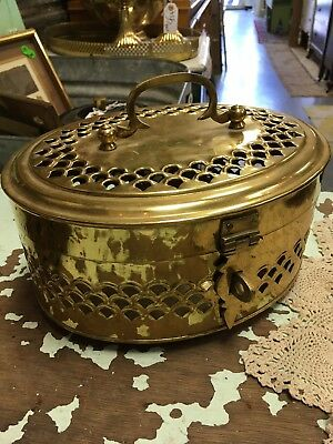 Huge Extra Large Solid Brass trinket jewelry box hinged w/ handle