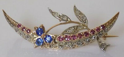 1.75cts ROSE CUT DIAMOND SAPPHIRE RUBY VICTORIAN LOOK 925 SILVER BROOCH PIN