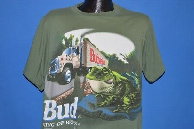 vintage 90s BUDWEISER FROGS BUD KING OF BEERS GREEN TRUCK COTTON t-shirt LARGE L