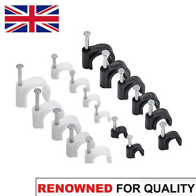 Round Flat White & Black Cable Clips with Fixing Nails 4mm-14mm - 100 Pack NEW