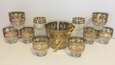 VTG. LOT Culver Valencia Ice Bucket Tongs 8 Lowball 2 Wine Glass Tumblers