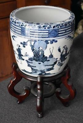 Lovely Large Antique Chinese Blue White Porcelain Cachepot With Stand Wisemen