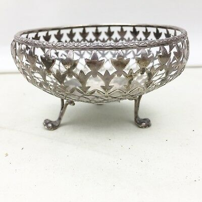 Antique Solid Silver Cut Work Dish Bowl Bonbon Sterling