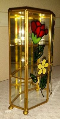 Mid Century Stained Glass Curio Box Jewelry Vanity Case Brass Mirror Footed