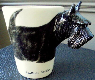 Dimensional 8oz Handcrafted Hand Painted Scottish Terrier Mug Blue Witch EXCLNT