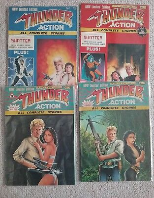 """UK Comics FULL SET OF 4 """"THUNDER ACTION"""" Agents -  Hard To Find - Low Print Runs"""