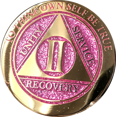 2 Year AA Medallion Elegant Glitter Pink Gold Plated Sobriety Chip Coin two