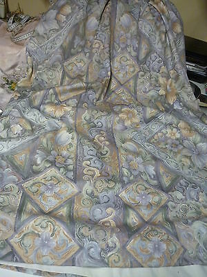 """pair of lined curtains each one approx 92"""" w by 52""""d lead weight corner's on hem"""