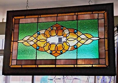"""Antique Stained Leaded Beveled Glass Window 8 Faceted Jewels 40.5"""" W X 25.5"""" H"""