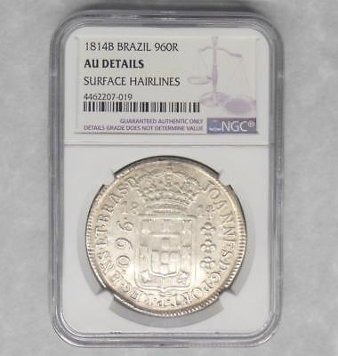 1814 B BRAZIL- 960 R REIS Overstruck 8 Reales  NGC AU Details COLONIAL Coin