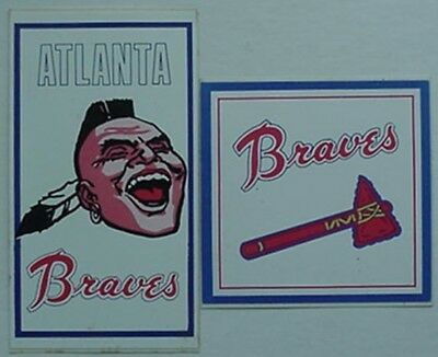 2 VINTAGE ATLANTA BRAVES STICKERS - SCREAMING INDIAN (70s), TOMAHAWK (80s)