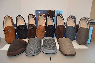 Men's ISOTONER Memory Foam Slippers Bedroom Shoes Black, Brown Grey M L XL XXL