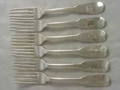 John Lias Set 6 Fine Georgian 1800 Crested OAR Silver Dinner Forks 457 grams