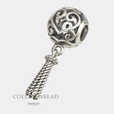 Authentic Pandora Silver Enchanted Heart Tassel Dangle Bead 797037 *SPRING 2018