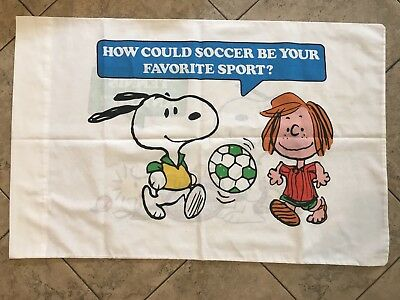 Vintage Snoopy Peanuts Pillow Case Soccer Tennis Size 31 X 20 Peppermint Patty