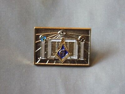 Rectangular Masonic Lapel Tac Pin Square Compass with Pillars NEW!